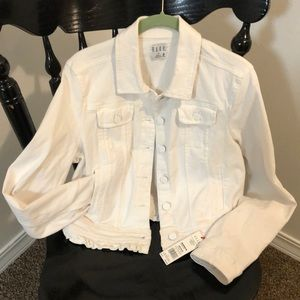 White cotton denim jacket with ruffled details